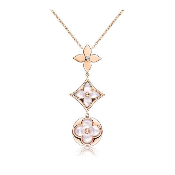 ルイヴィトン LOUIS VUITTON ネックレス ピンクゴールド マザーオブパール モノグラム フラワー スター ダイヤモンド