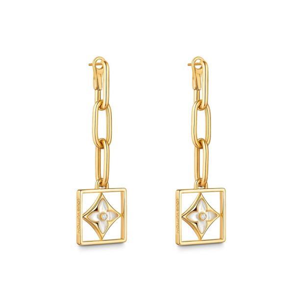 ルイヴィトン LOUIS VUITTON ピアス 18K イエローゴールド マザーオブパール ダイヤモンド