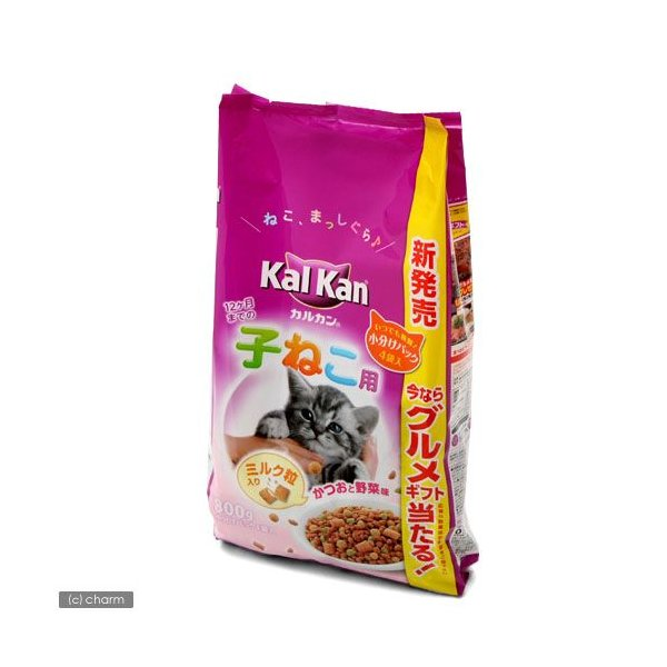 カルカン ドライ 12か月までの子ねこ用 かつおと野菜味ミルク粒入り 800g(小分けパック2袋入り) キャットフード カルカン 関東当日便|chanet