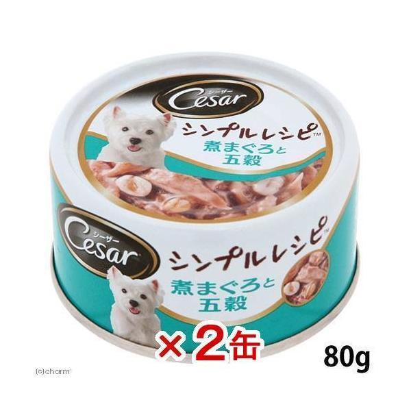 シーザーシンプルレシピ 煮まぐろと五穀 80g ドッグフード シーザー 2缶入り 関東当日便|chanet