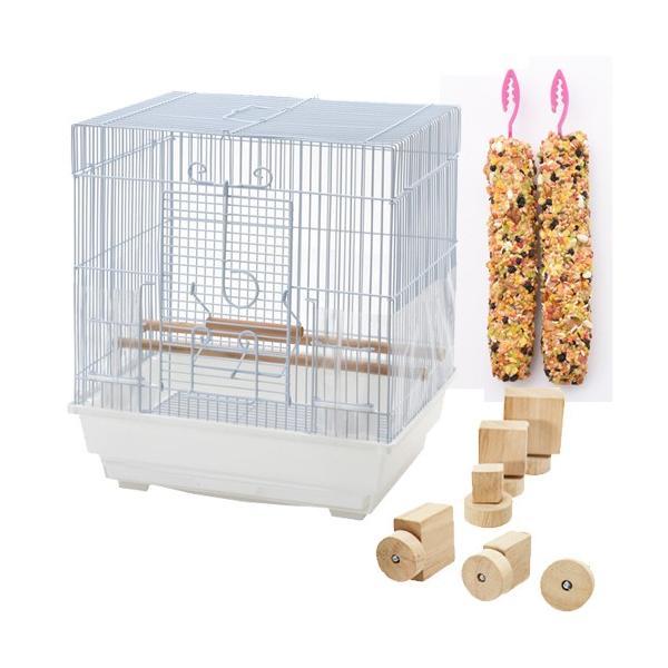 セキセイインコのための便利グッズセット (クオリス BIRD CAGE、ボルダリング おもちゃ、総合栄養食 Vitapol)