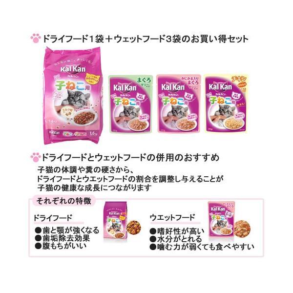 お買得セット 子ねこ用 カルカンドライ かつおと野菜味ミルク粒入り 1.6kg + カルカンパウチ 3種3袋 関東当日便|chanet|02