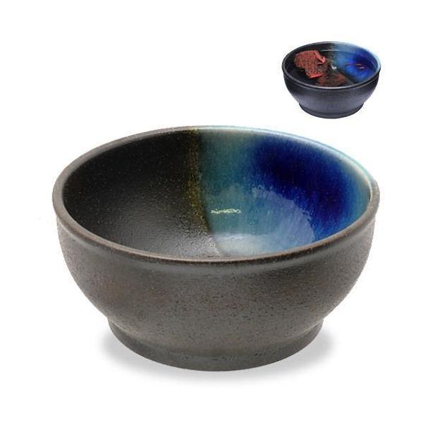 カミハタ信楽焼めだか鉢ブラウン/ブルーアクセント