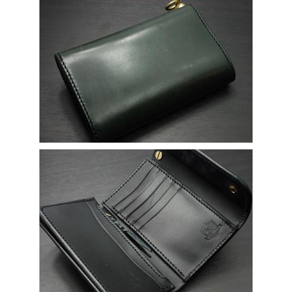 INCEPTION(インセプション) 長財布 メンズ ミディアムハーフウォレット<UKブライドルレザー・ミドルウォレット 真鍮製回転トチカン付 IPW-06-GR グリーン>|chaos-accessory|03