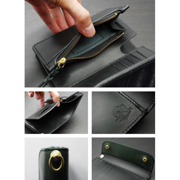 INCEPTION(インセプション) 長財布 メンズ ミディアムハーフウォレット<UKブライドルレザー・ミドルウォレット 真鍮製回転トチカン付 IPW-06-GR グリーン>|chaos-accessory|04