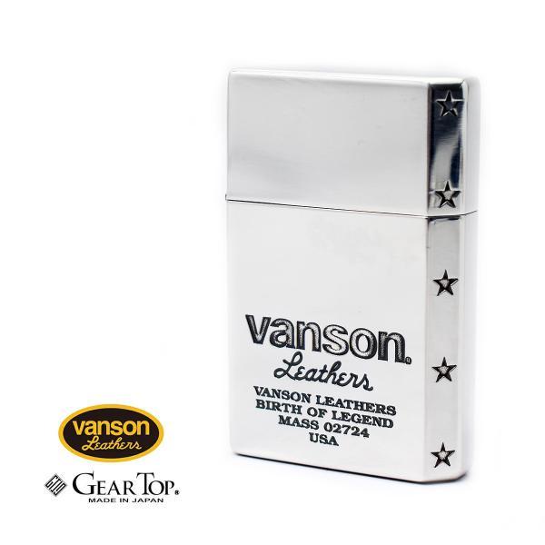 国産オイルライター ギアトップ vanson × GEAR TOP V-GT-05 バンソン ロゴデザイン シルバー 日本製 【 ブランド 人気 おしゃれ 】