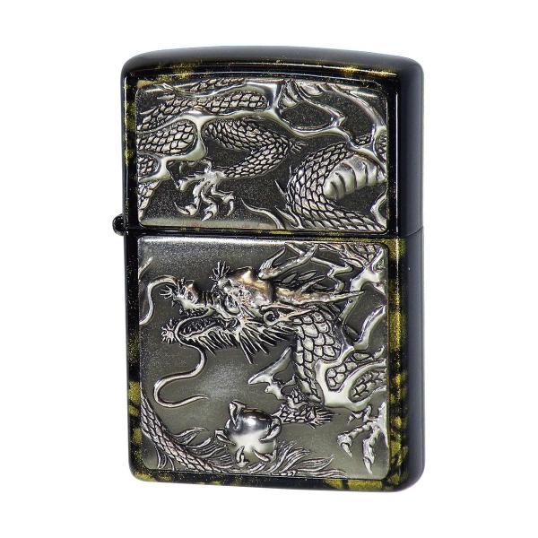 ZIPPO ジッポ ジッポー オイルライター 電鋳板 銀硫化 ライズメタル 銀龍 亀甲 黒金 漆塗り
