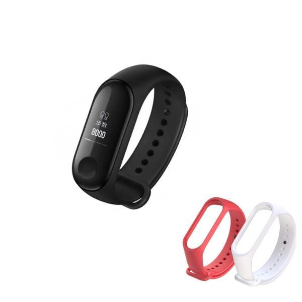 Mi Band 3 Xiaomi スマートウォッチ 活動量計 歩数計 心拍数計 睡眠モニター 消費カロリー計 (最長20日間) (ホワイトバンド・レッドバンド各1本付)