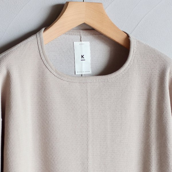 クロ カットソー KURO ハニカム ロングスリーブ Tシャツ HONEYCOMB L/S TEE ベージュ BEIGE 2019秋冬新作|charger|02