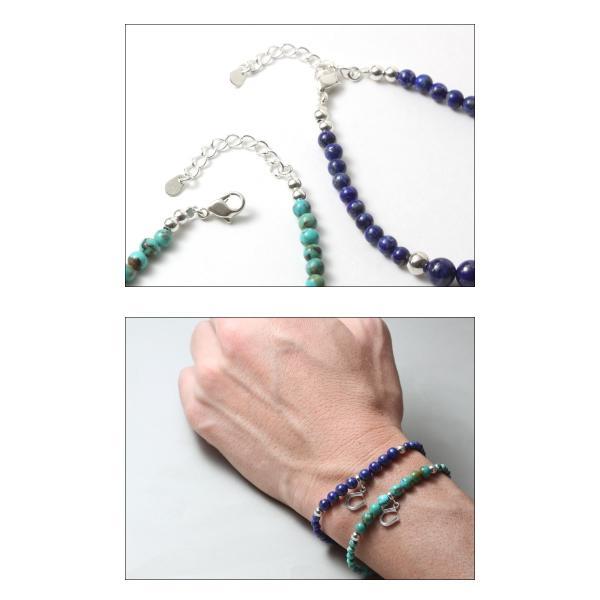 シンパシーオブソウル SYMPATHY OF SOUL Ball Beads Bracelet w/Horseshoe ボール ビーズ ブレスレット ホースシュー シルバー ターコイズ ラピスラズリ|charger|04