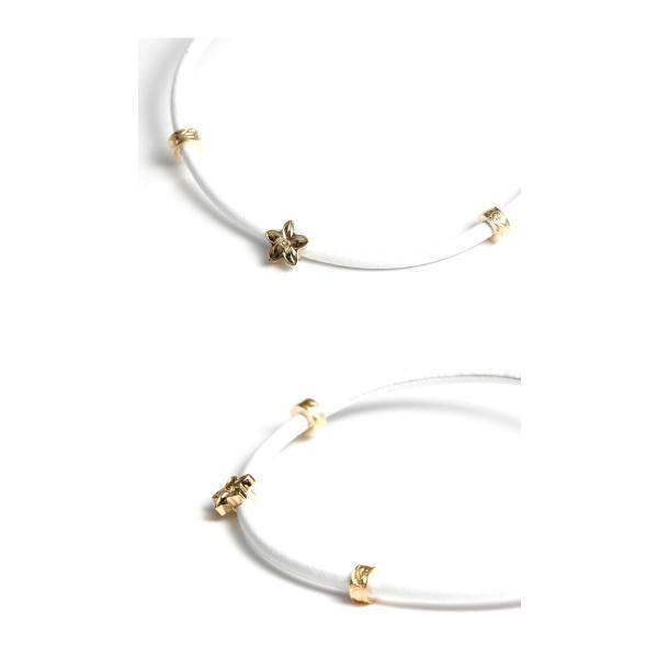 Maxi マキシ ハワイアンジュエリー レザーコード ブレスレット プルメリア K10イエローゴールド WHITE ホワイト レディース|charger|02