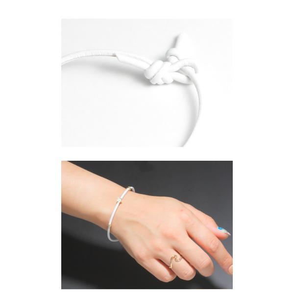 Maxi マキシ ハワイアンジュエリー レザーコード ブレスレット プルメリア K10イエローゴールド WHITE ホワイト レディース|charger|03