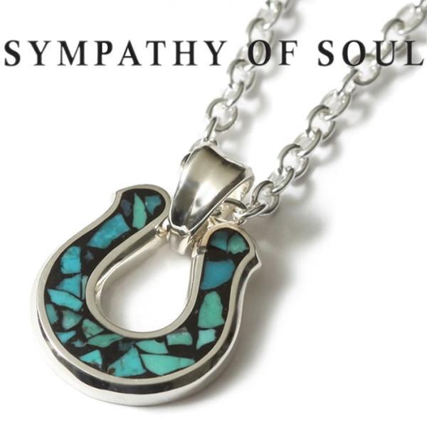 シンパシーオブソウル ネックレス SYMPATHY OF SOUL Horseshoe Inlay Necklace Silver Turquoise ホースシューインレイネックレス シルバー ターコイズ|charger