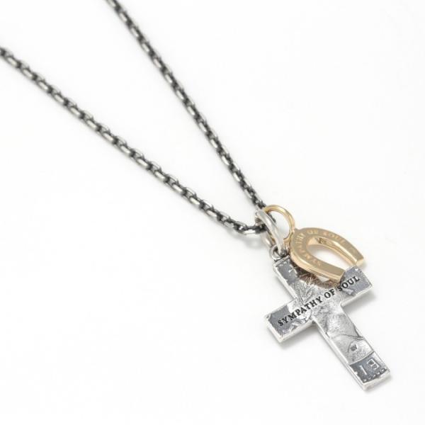 シンパシーオブソウル 2019年クリスマス限定 ネックレス SYMPATHY OF SOUL 1960's Sixpence Large Cross Necklace Horseshoe クロス ホースシュー SV K10YG|charger|07