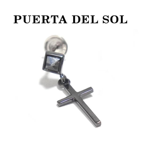 PUERTA DEL SOL プエルタデルソル  SEKAI NO OWARI Fukase様着用 シルバー クロス ブラック ヘマタイト ピアス  SILVER CROSS PIERCE BLACK|charger