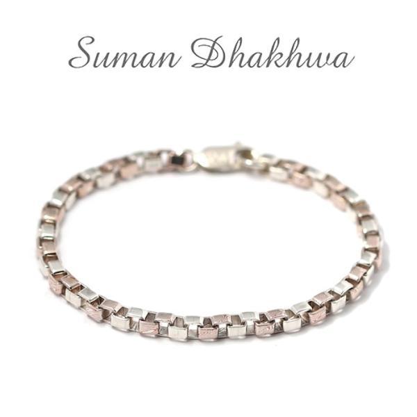 スーマンダックワ ブレス Suman Dhakhwa コンビ ベネチアンチェーン ブレスレット シルバー 銅 木目金 Combi Venetian Chain Bracelet Silver Copper MOKUMEGANE|charger