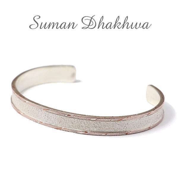 スーマンダックワ バングル Suman Dhakhwa モクメボーダーサンドブラストカフ シルバー 銅 木目金 MOKUME Border Sandblast Cuff Silver Copper MOKUMEGANE|charger