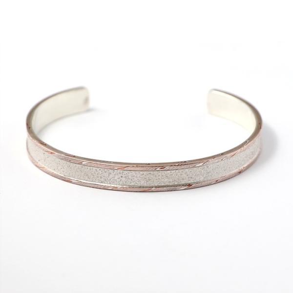 スーマンダックワ バングル Suman Dhakhwa モクメボーダーサンドブラストカフ シルバー 銅 木目金 MOKUME Border Sandblast Cuff Silver Copper MOKUMEGANE|charger|02