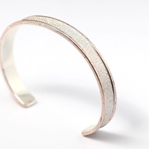 スーマンダックワ バングル Suman Dhakhwa モクメボーダーサンドブラストカフ シルバー 銅 木目金 MOKUME Border Sandblast Cuff Silver Copper MOKUMEGANE|charger|03