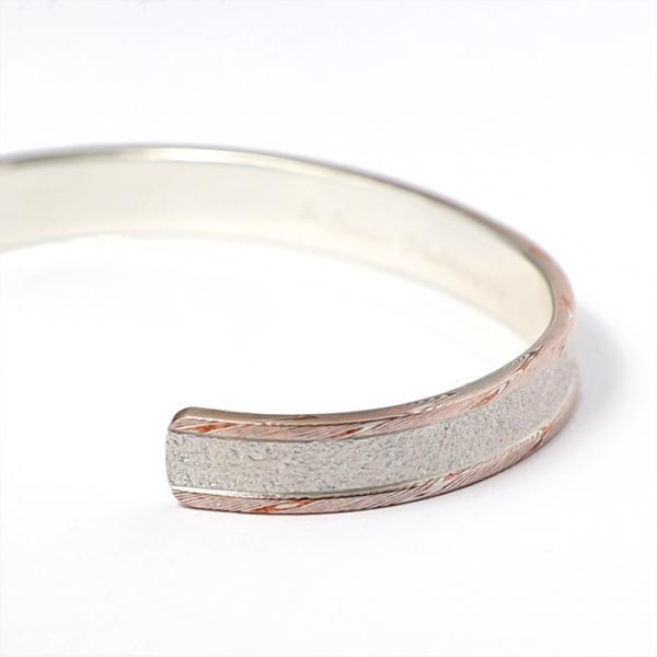スーマンダックワ バングル Suman Dhakhwa モクメボーダーサンドブラストカフ シルバー 銅 木目金 MOKUME Border Sandblast Cuff Silver Copper MOKUMEGANE|charger|04