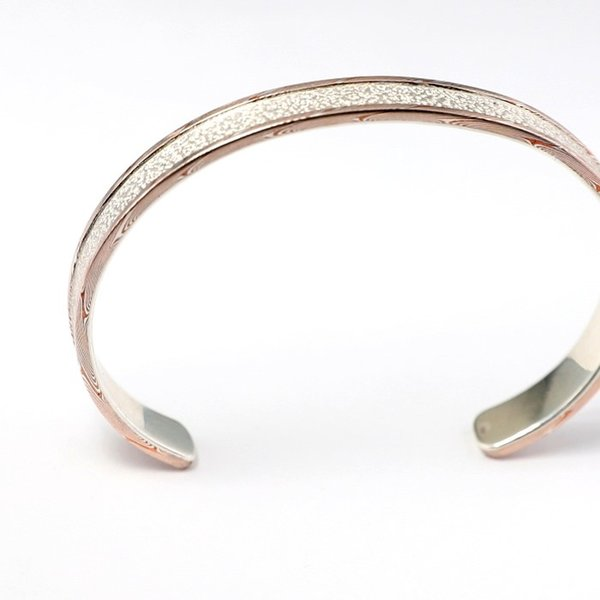 スーマンダックワ バングル Suman Dhakhwa モクメボーダーサンドブラストカフ シルバー 銅 木目金 MOKUME Border Sandblast Cuff Silver Copper MOKUMEGANE|charger|05