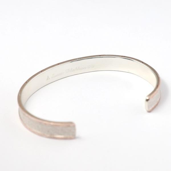 スーマンダックワ バングル Suman Dhakhwa モクメボーダーサンドブラストカフ シルバー 銅 木目金 MOKUME Border Sandblast Cuff Silver Copper MOKUMEGANE|charger|06