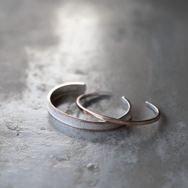 スーマンダックワ バングル Suman Dhakhwa モクメボーダーサンドブラストカフ シルバー 銅 木目金 MOKUME Border Sandblast Cuff Silver Copper MOKUMEGANE|charger|10