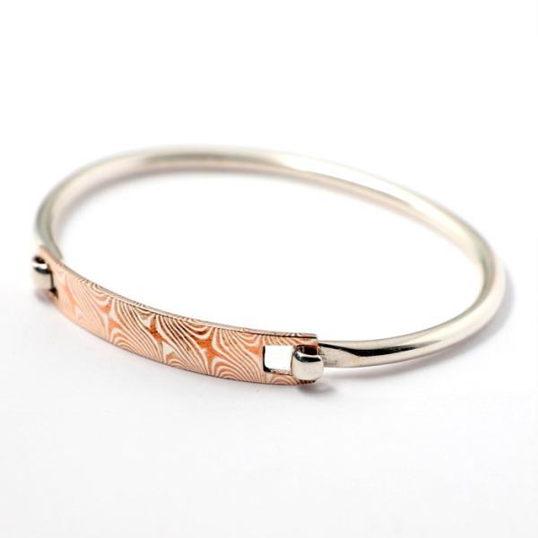スーマンダックワ バングル Suman Dhakhwa モクメ ヒンジ バングル シルバー 銅 木目金 Star Pattern MOKUME Hinge Banglle Silver Copper MOKUMEGANE charger 02