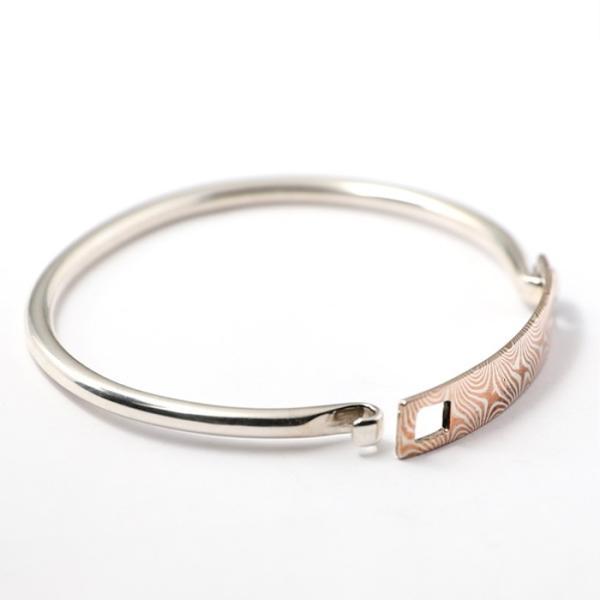 スーマンダックワ バングル Suman Dhakhwa モクメ ヒンジ バングル シルバー 銅 木目金 Star Pattern MOKUME Hinge Banglle Silver Copper MOKUMEGANE charger 06