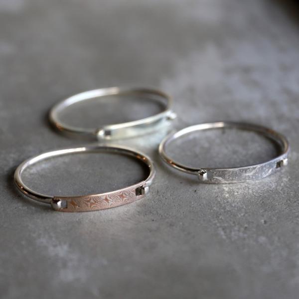 スーマンダックワ バングル Suman Dhakhwa モクメ ヒンジ バングル シルバー 銅 木目金 Star Pattern MOKUME Hinge Banglle Silver Copper MOKUMEGANE charger 10