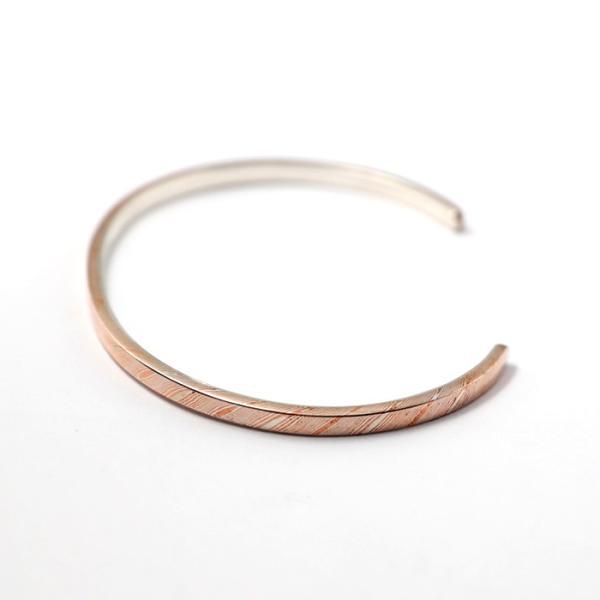 スーマンダックワ バングル Suman Dhakhwa モクメ ナロー カフ シルバー 銅 木目金 MOKUME Narrow Flat Cuff Silver Copper MOKUMEGANE|charger|03