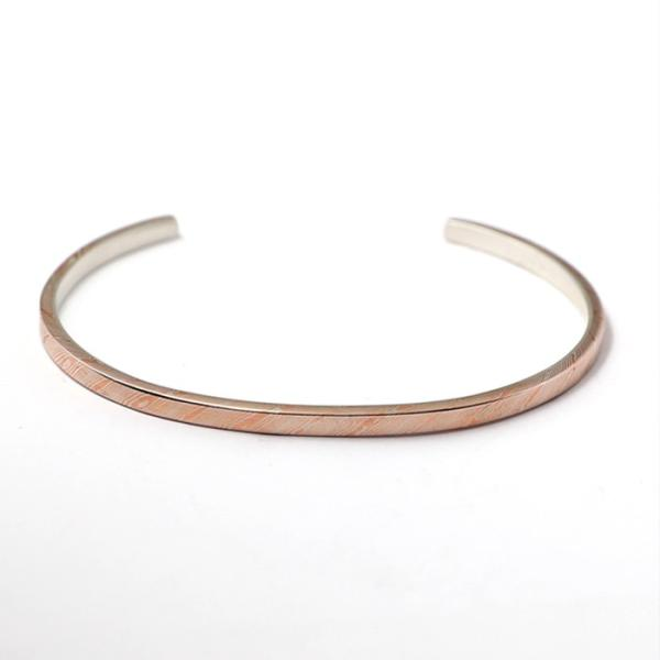 スーマンダックワ バングル Suman Dhakhwa モクメ ナロー カフ シルバー 銅 木目金 MOKUME Narrow Flat Cuff Silver Copper MOKUMEGANE|charger|04