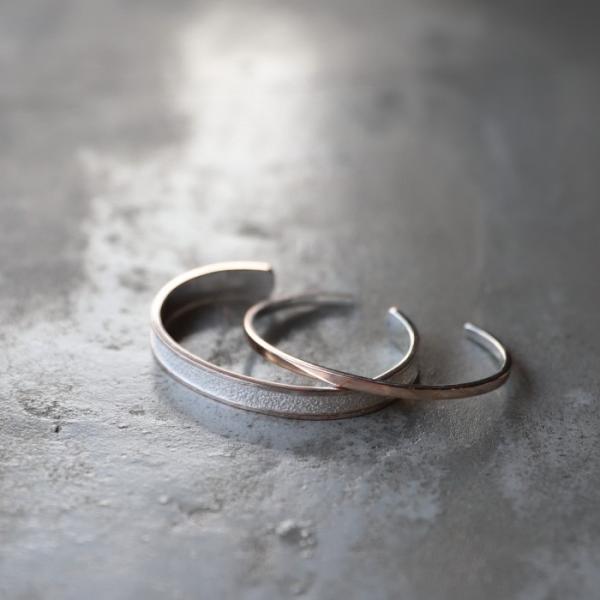 スーマンダックワ バングル Suman Dhakhwa モクメ ナロー カフ シルバー 銅 木目金 MOKUME Narrow Flat Cuff Silver Copper MOKUMEGANE|charger|10
