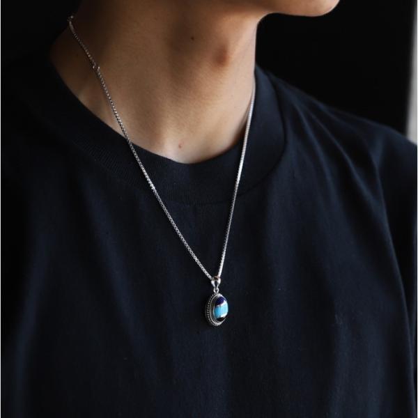 スーマンダックワ ネックレス Suman Dhakhwa ツイステッド ストーン ペンダント ベネチアン チェーンセット Twisted Stone Pendant Inlay Venetian Chain Silver|charger|02