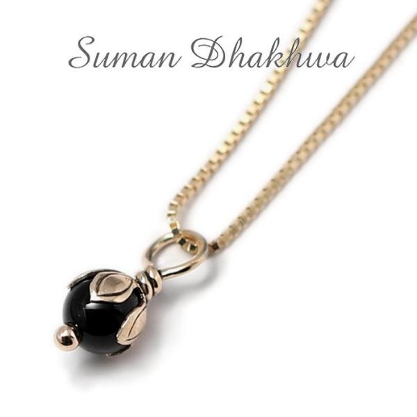 スーマンダックワ ネックレス Suman Dhakhwa ロータス ストーン ペンダント ベネチアン チェーンセット K10 Lotus Stone Pendant Onyx Venetian Chain K10YG|charger