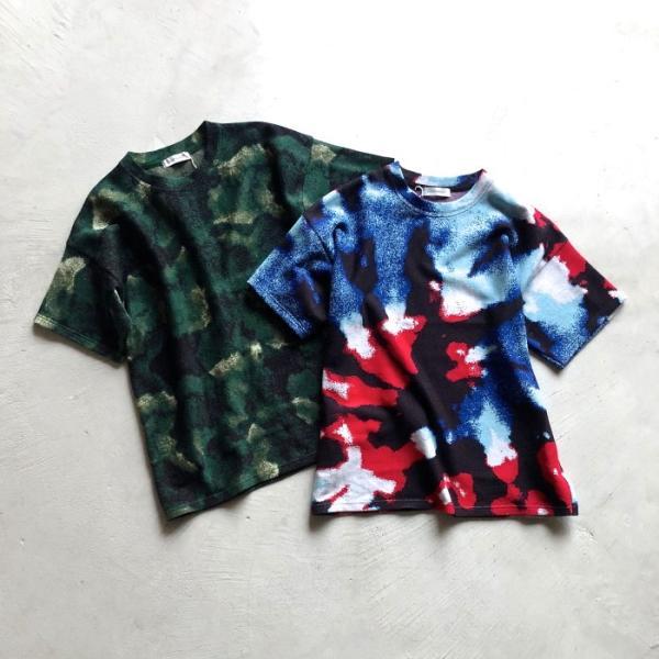 ラッピンノット Tシャツ WRAPINKNOT 総柄 ニットTシャツ GREEN グリーン 2019春夏新作|charger|07