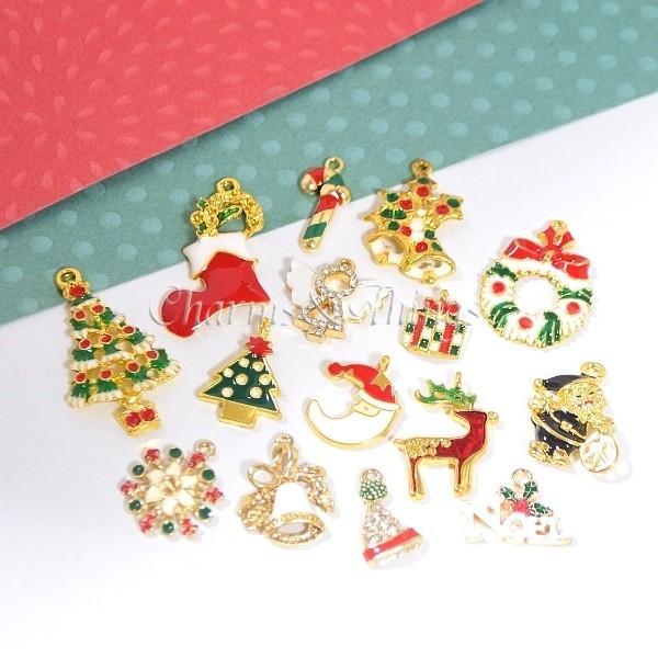 クリスマスチャームMix (15個入) クリスマス素材 アクセサリーパーツ 金属チャーム ラインストーン