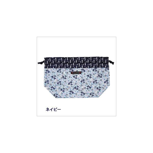 [ネコポスorゆうパケット可] ランチ巾着 (ノアファミリー猫グッズ ネコ雑貨 ねこ柄) フローラルキャット  051-A640|chatty-cloth|03