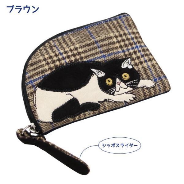 [ネコポスorゆうパケット可] モーリーフラットポーチ(ノアファミリー 猫グッズ ネコ雑貨 ポーチ ねこ柄) 051-A810 chatty-cloth 02