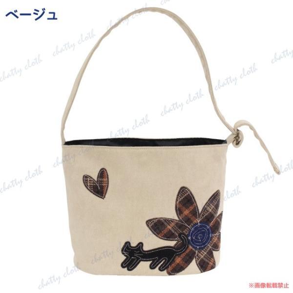ハナネコトートバッグ (猫グッズ ネコ雑貨 ねこ柄 フェイクスエード 花柄) 051-A848|chatty-cloth|02