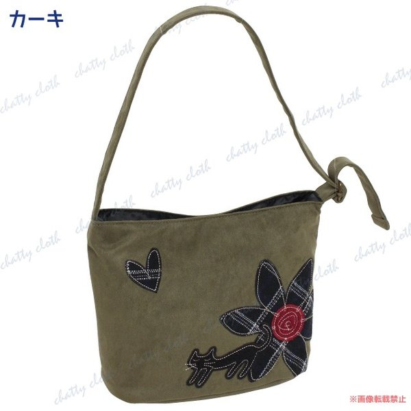 ハナネコトートバッグ (猫グッズ ネコ雑貨 ねこ柄 フェイクスエード 花柄) 051-A848|chatty-cloth|04