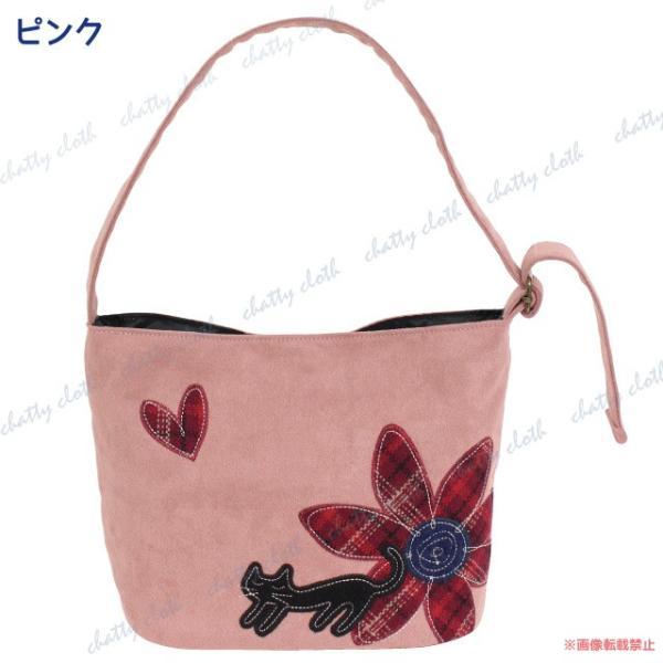 ハナネコトートバッグ (猫グッズ ネコ雑貨 ねこ柄 フェイクスエード 花柄) 051-A848|chatty-cloth|06