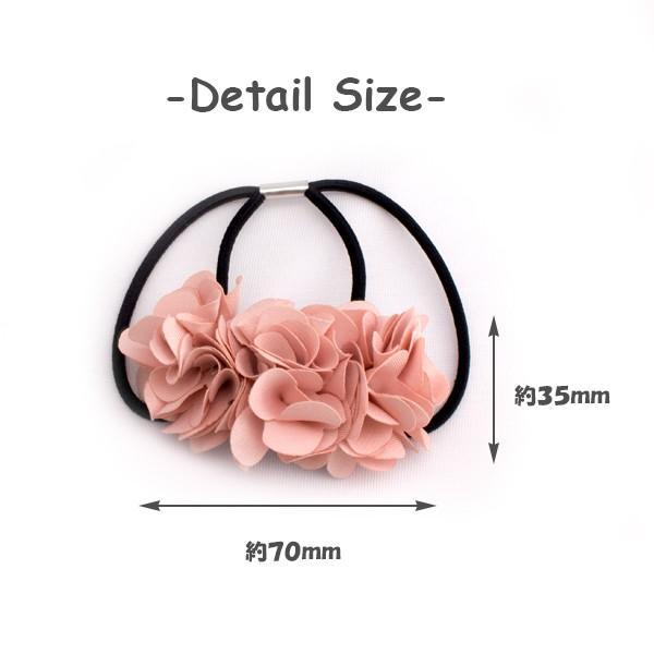 送料無料 ヘアゴム ヘアアクセサリー 上品な3連お花  ダブルヘアゴム 同梱可   color h-172