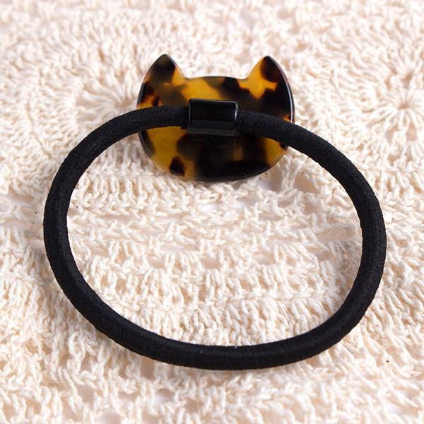 送料無料 アセチ素材 可愛い猫ちゃんのダイカットヘアゴム 2色 ヘアアクセサリー 大人 可愛い レディース ヘアアレンジ 女性 ヘアアクセ 同梱可 h-359