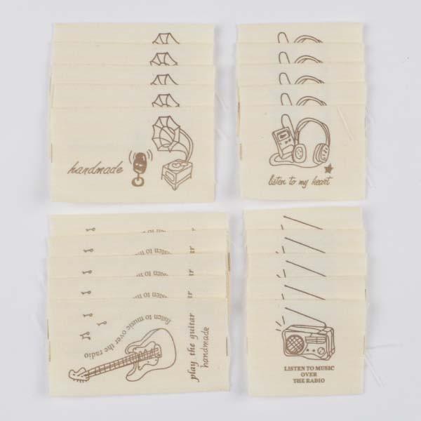 コットンタグテープ 素材 材料 パーツ  20枚セット ミュージック ハンドメイド用 pt-141016-7