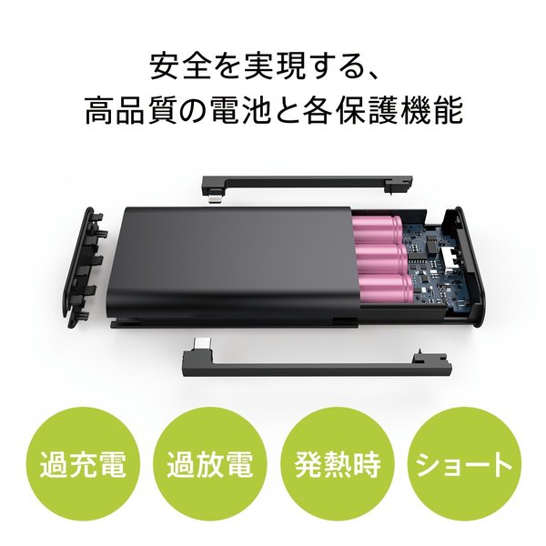 モバイルバッテリー PSEマーク付 iPhone / iPad / Android 大容量 チーロ cheero Twintail 10050mAh Lightning Micro USB 2ケーブル内蔵 MFi認証取得|cheeromart|04