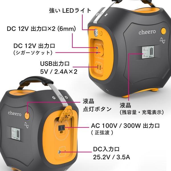 大容量バッテリー PSEマーク付 災害 停電 緊急時 アウトドア 電源 チーロ cheero Energy Carry 500Wh USB AC DC出力 LEDライト レジャー キャンプ 車中泊|cheeromart|06