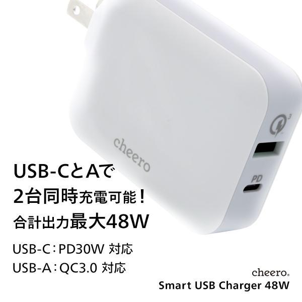 USB タイプC タイプA 2ポート アダプタ 充電器 パワーデリバリー QC3.0 合計 出力 48W 急速充電 チーロ cheero Smart USB Charger コンパクト|cheeromart|02