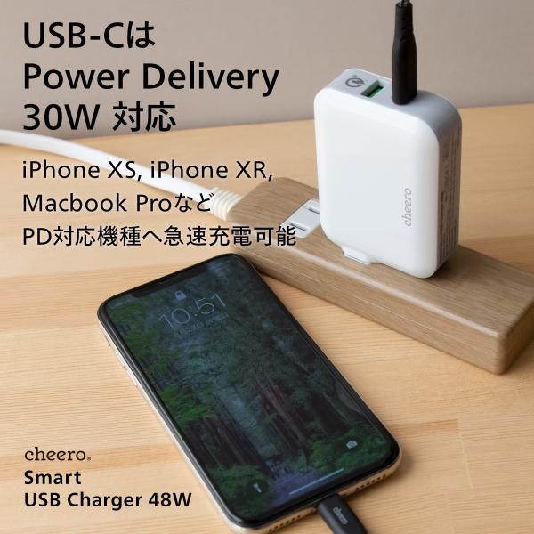 USB タイプC タイプA 2ポート アダプタ 充電器 パワーデリバリー QC3.0 合計 出力 48W 急速充電 チーロ cheero Smart USB Charger コンパクト|cheeromart|03