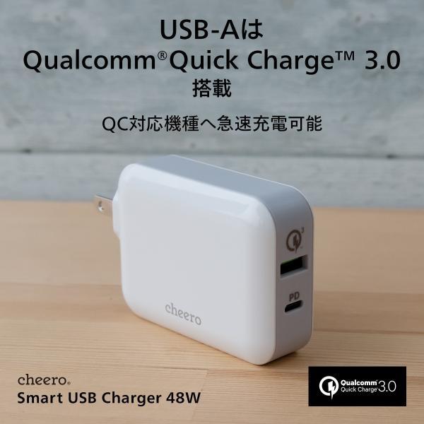 USB タイプC タイプA 2ポート アダプタ 充電器 パワーデリバリー QC3.0 合計 出力 48W 急速充電 チーロ cheero Smart USB Charger コンパクト|cheeromart|04